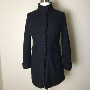 Banana Republic Black Ruffle Italian Wool Coat S